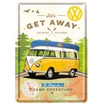 Blechpostkarte VW Bulli - Let's get away!