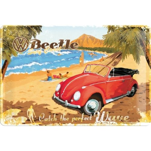 Blechschild VW Käfer - Ready for the beach 20x30cm